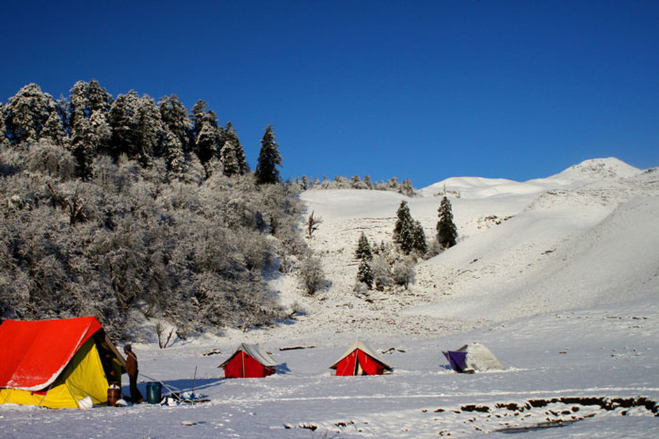 Snow filled campsite at Dayara bugyal with bakria top in the background
