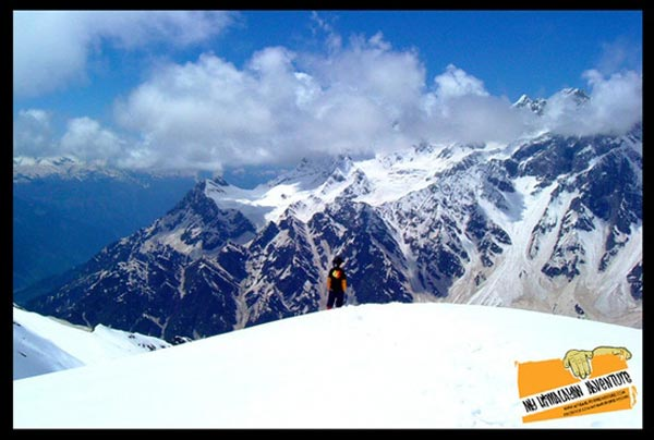 Cover photo in full: looking down at the valley and Mt Deo Tibba from the summit camp of Mt Shetidhar