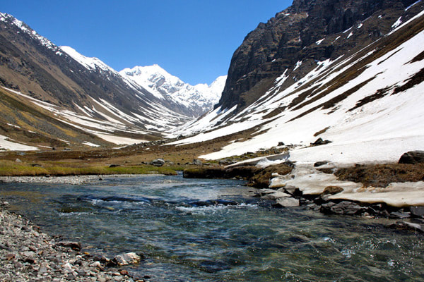 Trekking ahead from Har ki doon towards Jumdar glacier